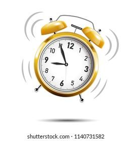 Realistic golden alarm clock ringing, isolated on white background. Vector Illustration