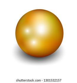 Realistic golden ball, metal sphere