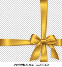Realistic golden bow and ribbon. Element for decoration gifts, greetings, holidays. Vector illustration.