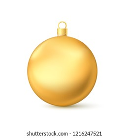 Realistic Golden Christmas Ball. New Year's Toy. Vector illustration isolated on white