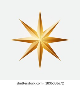 Realistic golden Christmas eight-pointed star. Vector illustration on white background