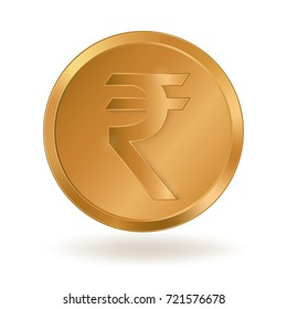 Realistic golden coin with Rupee sign. Symbol of Indian monetary unit. Stock vector illustration