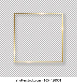 Realistic golden  frame on transparent background.