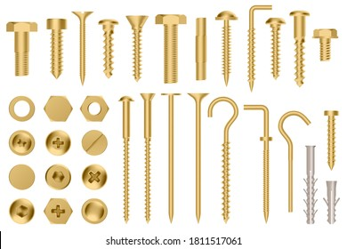 Realistic golden hardware. Construction gold metal hex cap nuts, 3d metal fixation gear, stainless screws and bolts vector illustration icons set. Eye hook, head fastener, metal rivet