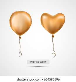 Realistic golden helium balloons set. Vector illustration. Metallic air balloons, heart and round shape. Isolated. For birthday, celebration, logo, new year, party decoration. Graphic design element.