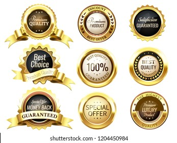 Realistic golden labels. Elegant best price banner, label with gold ribbons and prize tag. Premium labels dazzling medal or postal label 3d vector isolated symbol collection