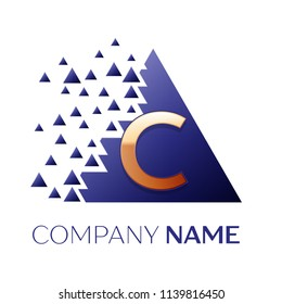 Realistic Golden Letter C logo symbol in the blue colorful pixel triangle shape with shattered blocks on black background. Vector template for your design
