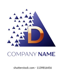 Realistic Golden Letter D logo symbol in the blue colorful pixel triangle shape with shattered blocks on black background. Vector template for your design