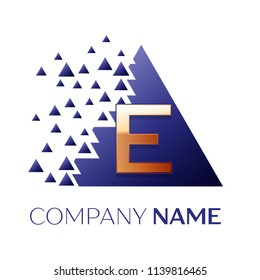 Realistic Golden Letter E logo symbol in the blue colorful pixel triangle shape with shattered blocks on black background. Vector template for your design