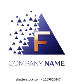 Realistic Golden Letter F logo symbol in the blue colorful pixel triangle shape with shattered blocks on black background. Vector template for your design