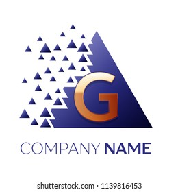 Realistic Golden Letter G logo symbol in the blue colorful pixel triangle shape with shattered blocks on black background. Vector template for your design