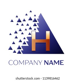 Realistic Golden Letter H logo symbol in the blue colorful pixel triangle shape with shattered blocks on black background. Vector template for your design