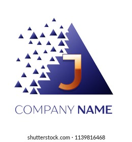 Realistic Golden Letter J logo symbol in the blue colorful pixel triangle shape with shattered blocks on black background. Vector template for your design
