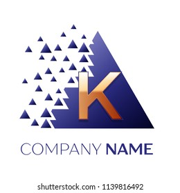Realistic Golden Letter K logo symbol in the blue colorful pixel triangle shape with shattered blocks on black background. Vector template for your design
