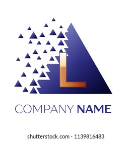 Realistic Golden Letter L logo symbol in the blue colorful pixel triangle shape with shattered blocks on black background. Vector template for your design