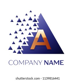 Realistic Golden Letter A logo symbol in the blue colorful pixel triangle shape with shattered blocks on black background. Vector template for your design