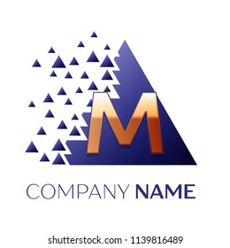 Realistic Golden Letter M logo symbol in the blue colorful pixel triangle shape with shattered blocks on black background. Vector template for your design