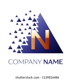 Realistic Golden Letter N logo symbol in the blue colorful pixel triangle shape with shattered blocks on white background. Vector template for your design