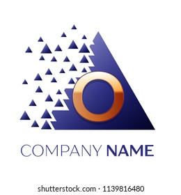 Realistic Golden Letter O logo symbol in the blue colorful pixel triangle shape with shattered blocks on white background. Vector template for your design