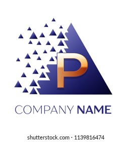 Realistic Golden Letter P logo symbol in the blue colorful pixel triangle shape with shattered blocks on white background. Vector template for your design