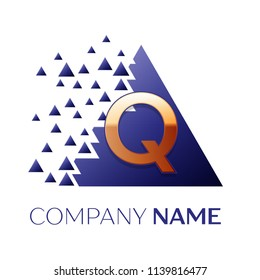 Realistic Golden Letter Q logo symbol in the blue colorful pixel triangle shape with shattered blocks on white background. Vector template for your design