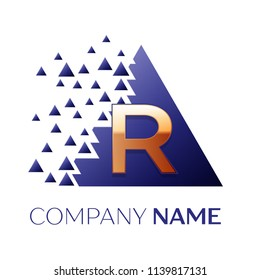 Realistic Golden Letter R logo symbol in the blue colorful pixel triangle shape with shattered blocks on white background. Vector template for your design