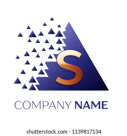 Realistic Golden Letter S logo symbol in the blue colorful pixel triangle shape with shattered blocks on white background. Vector template for your design