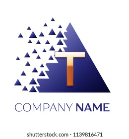 Realistic Golden Letter T logo symbol in the blue colorful pixel triangle shape with shattered blocks on white background. Vector template for your design