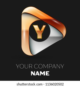 Realistic Golden Letter Y logo symbol in golden-silver triangle shape on black background. Vector template for your design