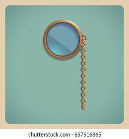 Realistic golden monocle isolated on retro background. Vector illustration.