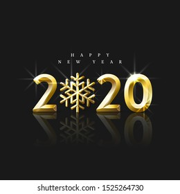 Realistic golden numbers 2020 with a Snowflake. Bright Happy New Year Greeting. Design element for flyers, leaflets, postcards and posters. Vector Illustration.
