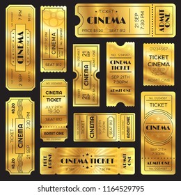 Realistic golden show ticket. Old premium cinema entrance tickets. Gold admission open sign to movie theater or entertainment amusement admitted film shows, retro vector isolated icons set