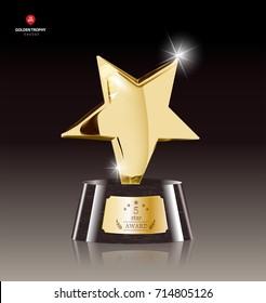 Realistic Golden Star Trophy Award in Vector