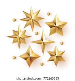 Realistic golden stars vector set isolated on white background. 