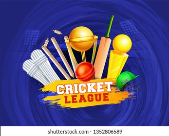 Realistic golden trophies, bat, ball and stumps, helmets, and leg protectors for cricket league on abstract stadium background.