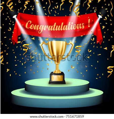 realistic golden trophy congratulations text on のベクター画像素材