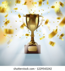Realistic Golden Trophy Cup With Falling Confetti. EPS10 Vector