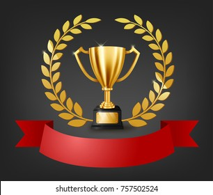 Realistic Golden Trophy with Gold Laurel Wreath and text space on red ribbon, Vector Illustration