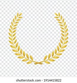 realistic golden vector laurel wreaths on transparent background. wreaths depicting an award, heraldry, achievement, victory, winner, ornate, cinema festival, Vector icon illustration.