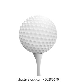 Realistic golf ball on tee