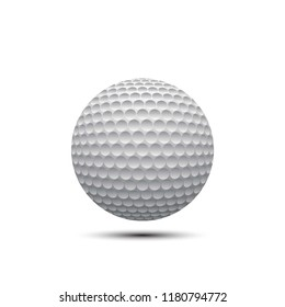 realistic golf ball with shadow on white background. 3d vector sport illustration