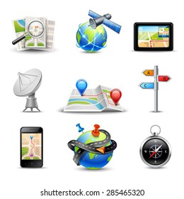 Realistic gps route search and navigation icons set isolated vector illustration