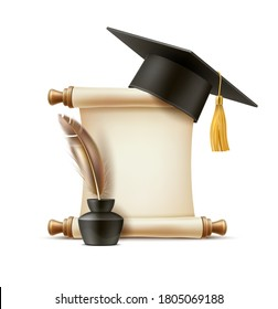Realistic graduation and education symols - paper scroll, feather quill pen in ink bottle and mortar academic cap with tassel. Vector symbols of poetry and literature