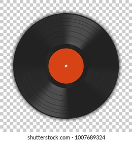 Realistic gramophone vinyl LP record with shadow. 12 inch. Old technology, retro design, vector art image illustration, template isolated on transparent background.