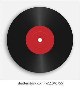 Realistic gramophone or vinyl record. Audio classic plastic disc
