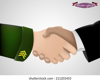 realistic graphic design vector of shake hand between military and government business man