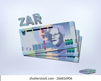 realistic graphic design vector of south african rand money paper