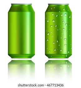 Realistic green aluminum cans icons set. Universal green aluminum cans set to use for web and mobile UI isolated vector illustration