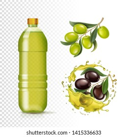 Realistic green and black olives and oil in plastic bottle and olive oil splash isolated vector illustration.