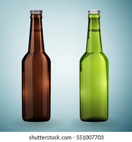 Realistic Green and brown bottles of beer on a grey background. Vector illustration